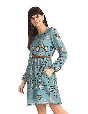 Cherokee Green Long Sleeve Printed Dress