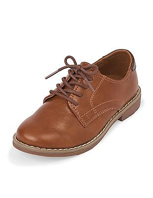The Children's Place Boys Brown Faux Leather Dress Shoes