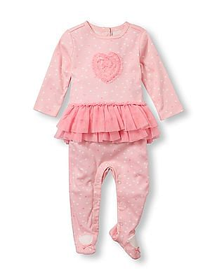 The Children's Place Baby Girls Layette Long Sleeve Heart Tutu Footed Coverall