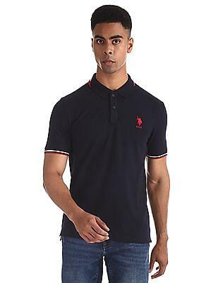U.S. Polo Assn. Blue Tipped Solid Polo Shirt