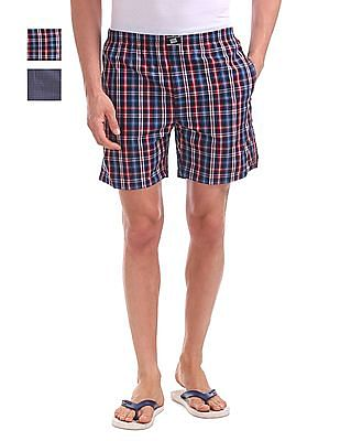 Hanes Check Cotton Boxers - Pack Of 2