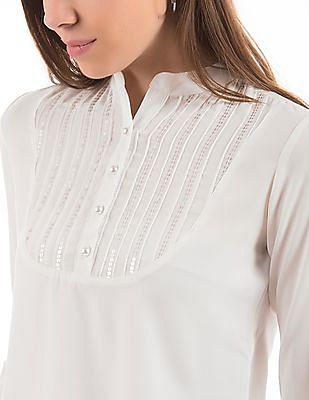 Cherokee Embellished Yoke Long Sleeve Top