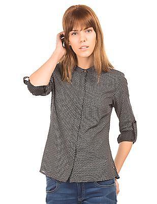 U.S. Polo Assn. Women Mandarin Collar Printed Shirt