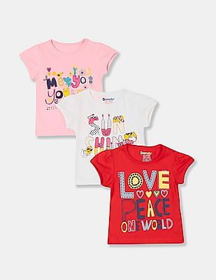 Donuts Girls Assorted Crew Neck Printed T-Shirt - Pack Of 3