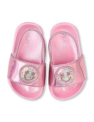 The Children's Place Toddler Girl Metallic Emoji Shaker Slides