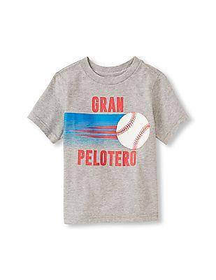 The Children's Place Toddler Boy Grey Short Sleeve 'Gran Pelotero' Baseball Graphic Tee