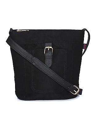 SUGR Black Buckle Tab Suedette Sling Bag