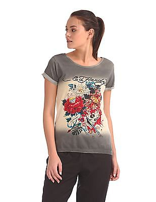 EdHardy Women Ombre Dyed Printed T-Shirt