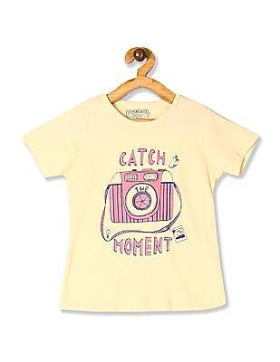 Cherokee Yellow Girls Camera Graphic Crew Neck T-Shirt