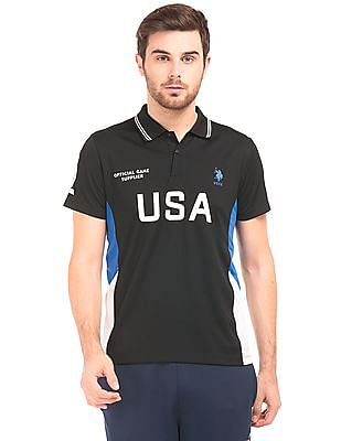 USPA Active Mesh Panel Printed Polo Shirt
