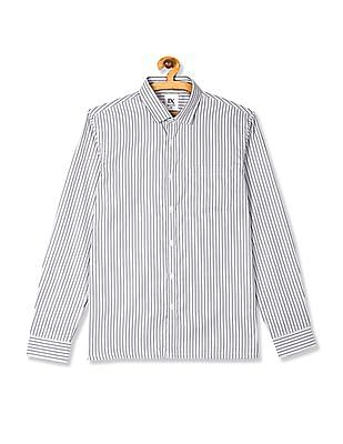 Excalibur Grey Semi Cutaway Collar Striped Shirt