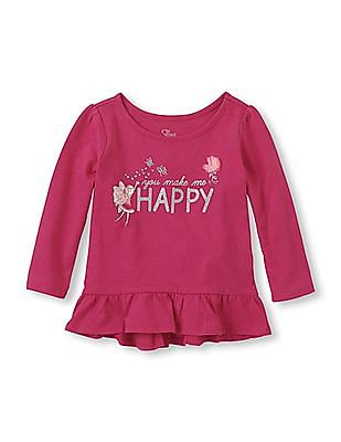 The Children's Place Toddler Girl Printed High-Low Peplum Top