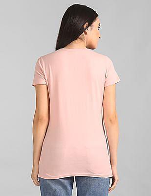 GAP Women Pink Short Sleeve Printed T-Shirt