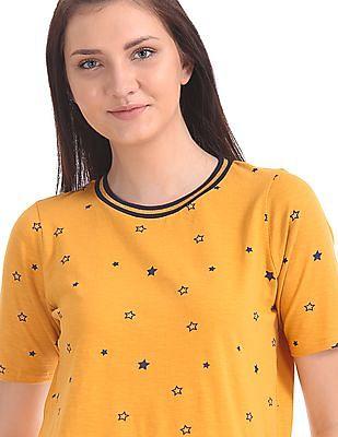 U.S. Polo Assn. Women Crew Neck Star Print T-Shirt