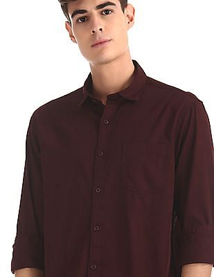 Ruggers Red Mitered Cuff Solid Shirt