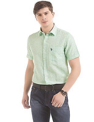 U.S. Polo Assn. Printed Linen Blend Shirt