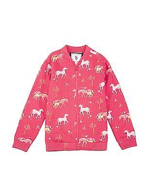 U.S. Polo Assn. Kids Girls Horse Print Regular Fit Sweatshirt