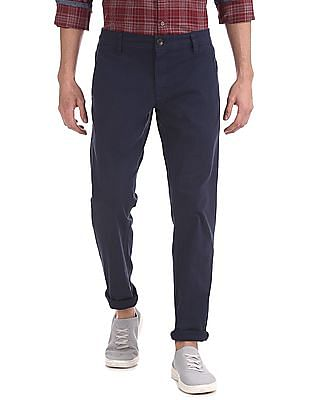 Ruggers Blue Modern Slim Fit Solid Trousers