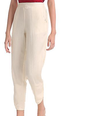 Bronz Beige Tulip Hem Patterned Pants