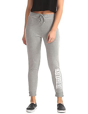 Flying Machine Women Mid Rise Heathered Track Pants