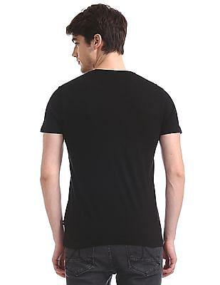 Flying Machine Black Crew Neck Tonal Flock Print T-Shirt