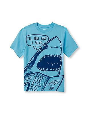 The Children's Place Boys Short Sleeve 'I'll Just Have A Salad' Shark Graphic Tee