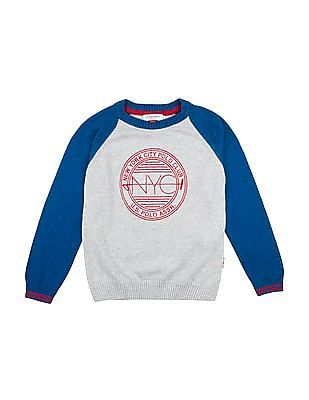 U.S. Polo Assn. Kids Boys Embroidered-Front Sweater