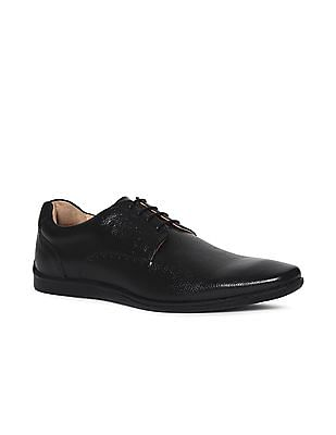 Arrow Black Textured Leather Derby Shoes