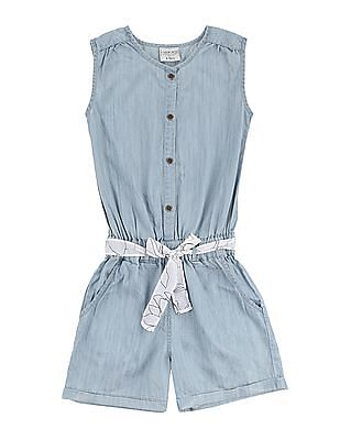 Cherokee Girls Sleeveless Chambray Romper