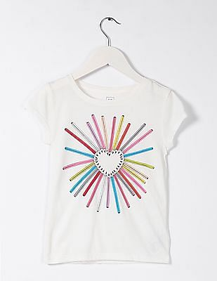 GAP Girls White Short Sleeve Graphic Tee