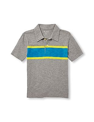 The Children's Place Boys Short Sleeve Chest Stripe Jersey Polo
