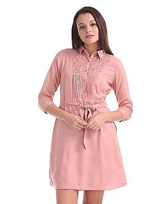 Cherokee Lace Trim Belted Shirt Dress