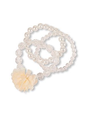 The Children's Place Girls White Faux Pearl and Clear Beaded Stretch Bracelet 3-Pack