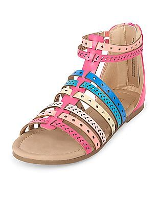The Children's Place Girls Laser Cut Multi-Colour Gladiator Sandal