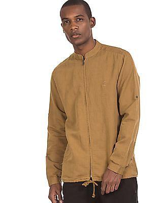 Ruf & Tuf Zip Front Mandarin Collar Shirt