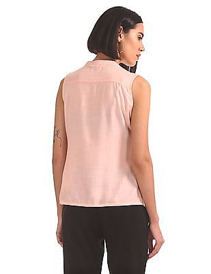 Bronz Embroidered Yoke Sleeveless Top