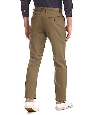 Arrow Sports Brown Chrysler Slim Fit Printed Trousers