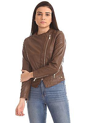 U.S. Polo Assn. Women Stand Neck Panelled Biker Jacket