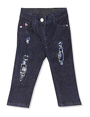 U.S. Polo Assn. Kids Blue Girls Flip Sequin Distressed Jeans
