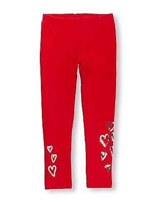 The Children's Place Girls Red Sequin Heart Graphic Leggings