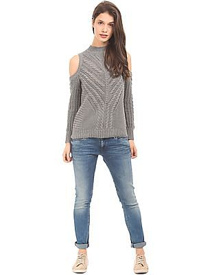 Aeropostale Cold Shoulder Chunky Knit Sweater