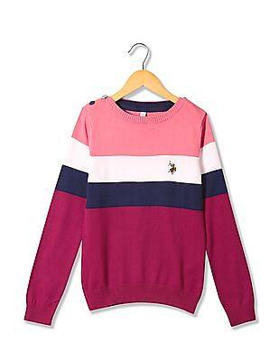 U.S. Polo Assn. Kids Girls Long Sleeve Striped Sweater