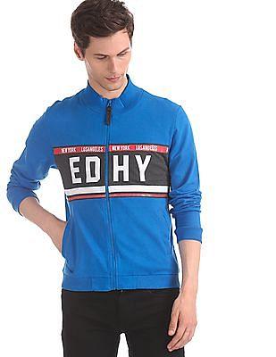 Ed Hardy Blue Mock Collar Panelled Sweatshirt