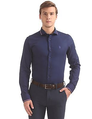USPA Tailored Slim Fit Solid Shirt