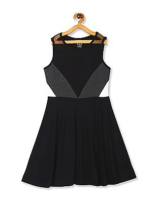 The Children's Place Black Girls Sleeveless Colorblock Ponte Knit Dress