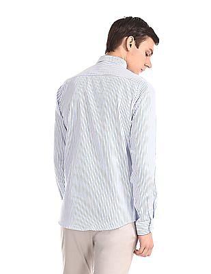 Excalibur White Slim Fit Vertical Stripe Shirt