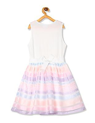 The Children's Place Girls Sleeveless Lace Striped Knit-To-Woven Dress