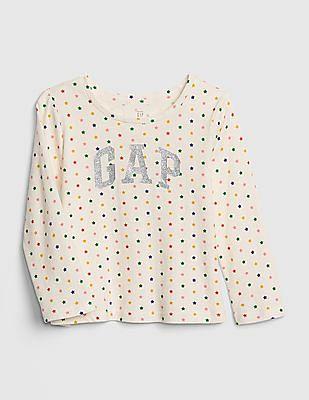 GAP White Toddler Girl Logo Long Sleeve T-Shirt
