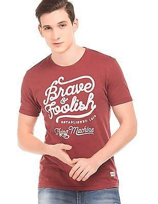Flying Machine Contrast Print Slub Knit T-Shirt