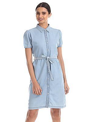 Flying Machine Women Blue Belted Shirt Dress